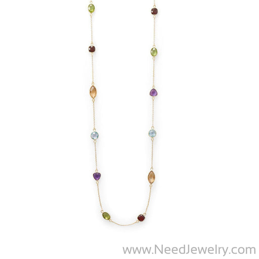 "25"" 14 Karat Gold Plated Multi Stone Necklace-Necklaces-Needjewelry.com"