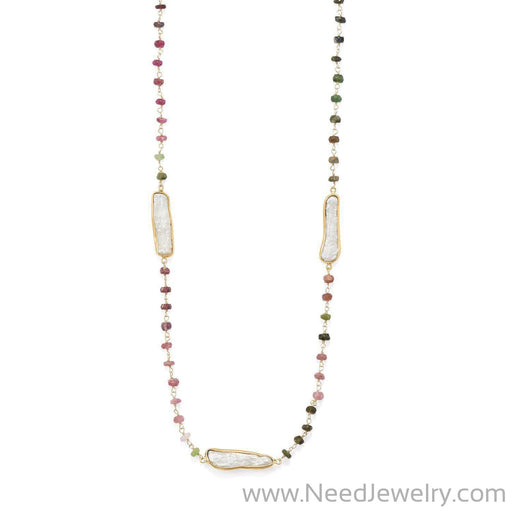 "24"" 14 Karat Gold Plated Tourmaline and Cultured Freshwater Pearl Necklace-Necklaces-Needjewelry.com"