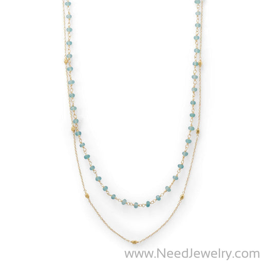 Two Strand 14 Karat Gold Plated Apatite Necklace-Necklaces-Needjewelry.com
