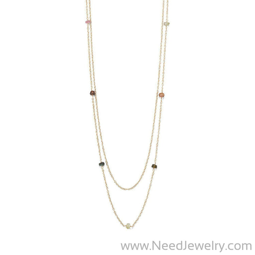 Two Strand 14 Karat Gold Plated Tourmaline Necklace-Necklaces-Needjewelry.com