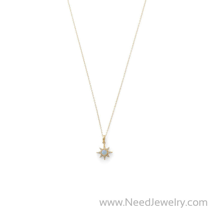 14 Karat Gold Plated CZ Star and Synthetic Opal Necklace-Necklaces-Needjewelry.com