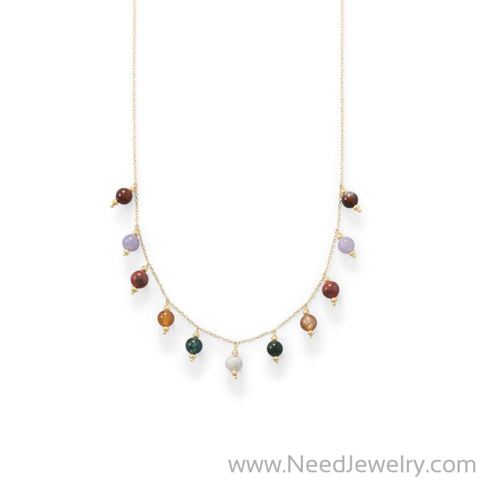 14 Karat Gold Plated Multi Stone Charm Necklace-Necklaces-Needjewelry.com