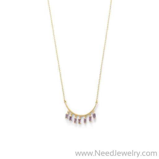 14 Karat Gold Plated Curved Bar Amethyst Drop Necklace-Necklaces-Needjewelry.com