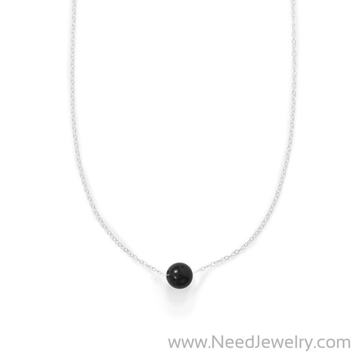 "16"" + 2"" Floating Black Onyx Bead Necklace-Necklaces-Needjewelry.com"