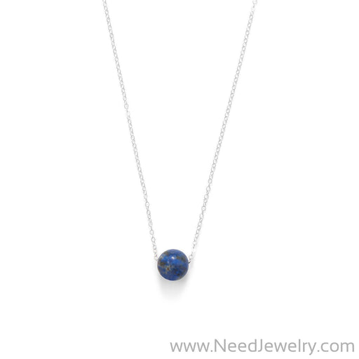 "16"" + 2"" Floating Lapis Bead Necklace-Necklaces-Needjewelry.com"