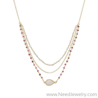 "16"" + 2"" Gold Filled Rainbow Moonstone and Tourmaline Necklace-Necklaces-Needjewelry.com"