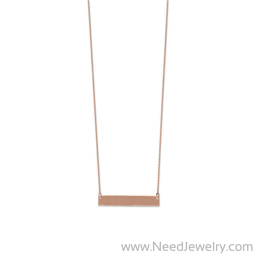 14 Karat Rose Gold Engravable Bar Necklace-Necklaces-Needjewelry.com