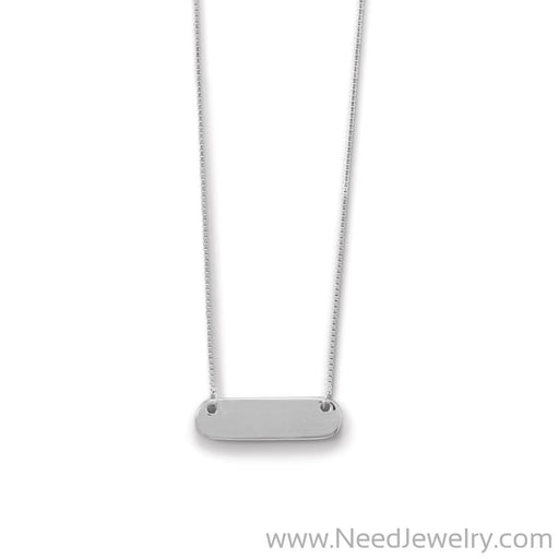 Engravable Rhodium Plated Rounded Bar Necklace-Necklaces-Needjewelry.com