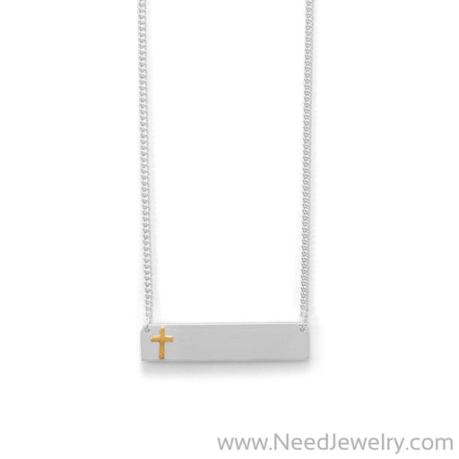 "16"" + 2"" Bar Necklace With 14 Karat Gold Plated Cross-Necklaces-Needjewelry.com"