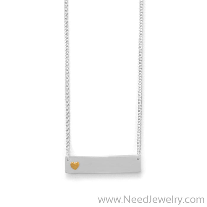 "16"" + 2"" Bar Necklace With 14 Karat Gold Plated Heart-Necklaces-Needjewelry.com"