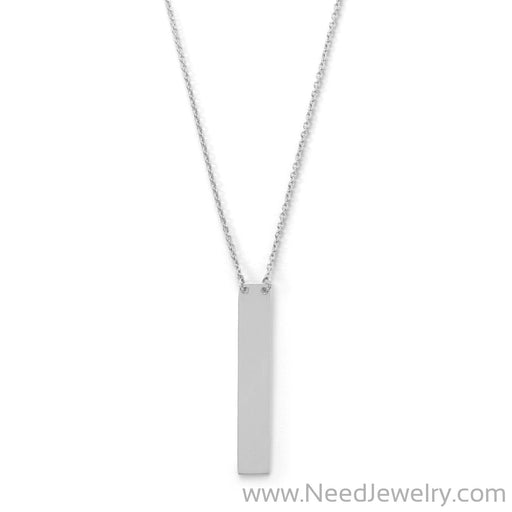 "16"" + 2"" Sterling Silver Vertical Bar Drop Necklace-Necklaces-Needjewelry.com"