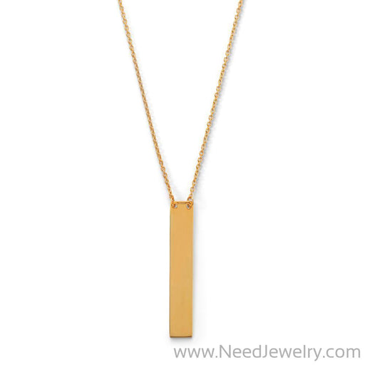 "16"" + 2"" 14 Karat Gold Plated Vertical Bar Drop Necklace-Necklaces-Needjewelry.com"