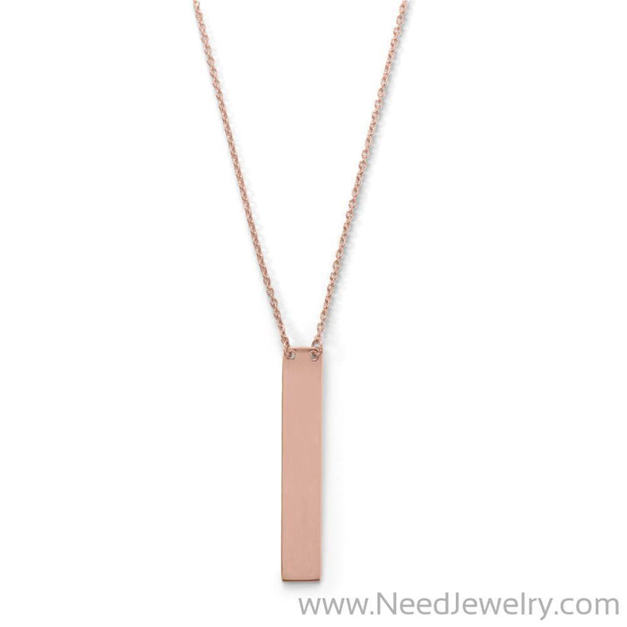 "16"" + 2"" 14 Karat Rose Gold Plated Vertical Bar Drop Necklace-Necklaces-Needjewelry.com"
