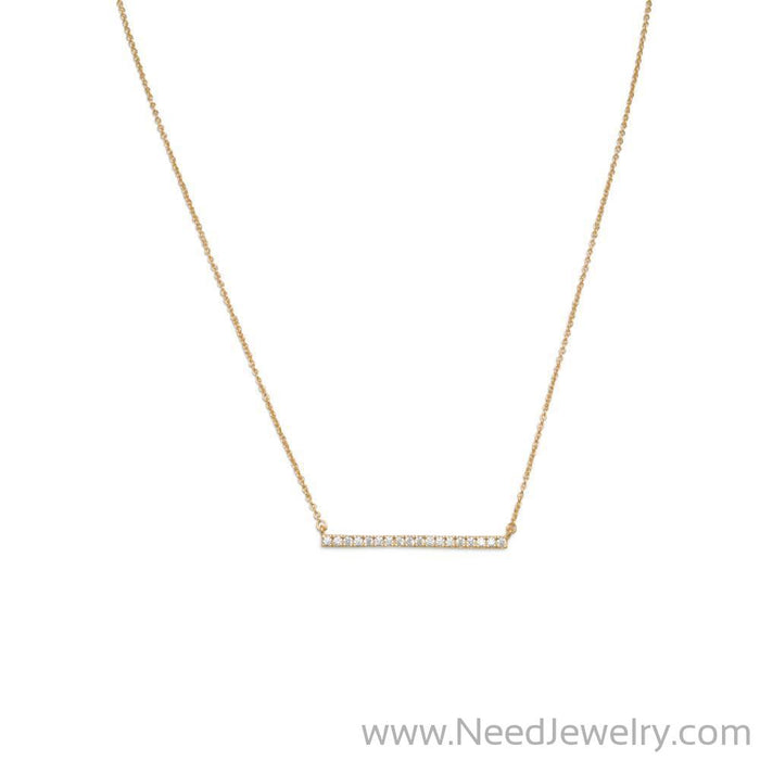 "16"" + 2"" 14 Karat Gold Plated CZ Bar Necklace-Necklaces-Needjewelry.com"