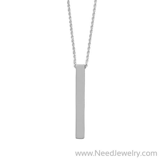 Four Sided Rhodium Plated Vertical Bar Drop Necklace-Necklaces-Needjewelry.com