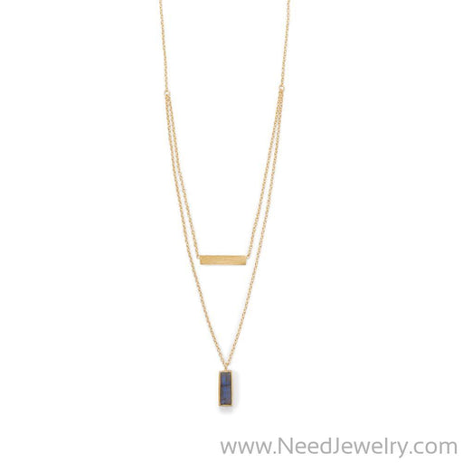 14 Karat Gold Plated Labradorite Double Strand Bar Necklace-Necklaces-Needjewelry.com