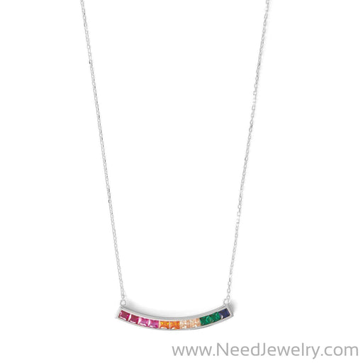 Rhodium Plated Rainbow CZ Necklace-Necklaces-Needjewelry.com