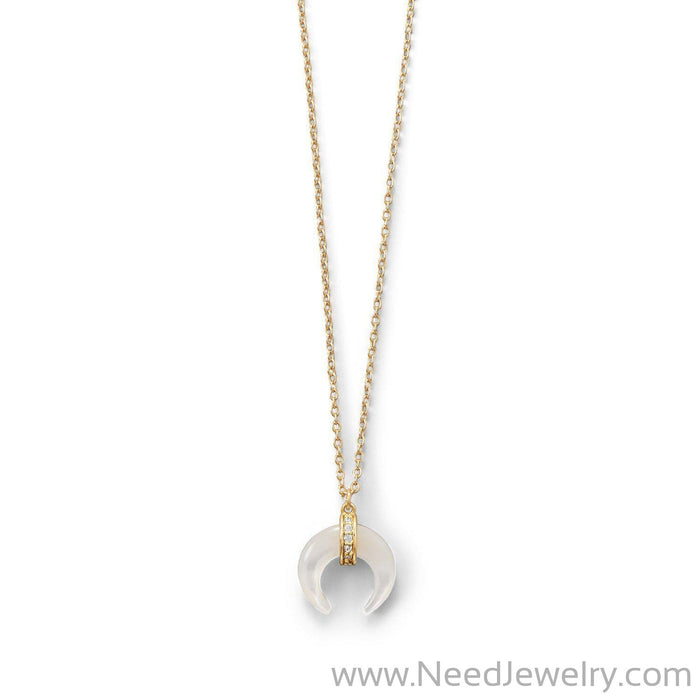 Mother of Pearl Crescent Gold Plated Necklace-Necklaces-Needjewelry.com