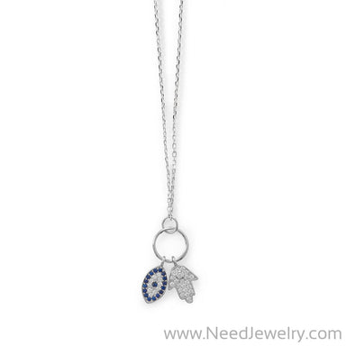 Hamsa and Evil Eye CZ Necklace-Necklaces-Needjewelry.com