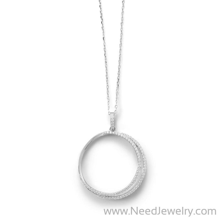 Eclipse Rhodium Plated CZ Necklace-Necklaces-Needjewelry.com
