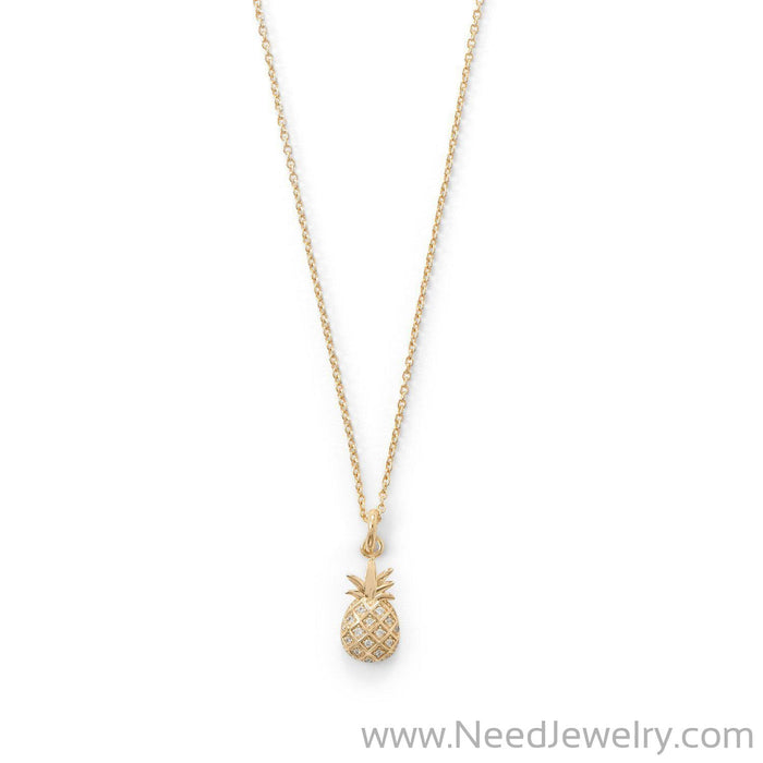 Summer Sweetness CZ Pineapple Gold Plated Necklace-Necklaces-Needjewelry.com