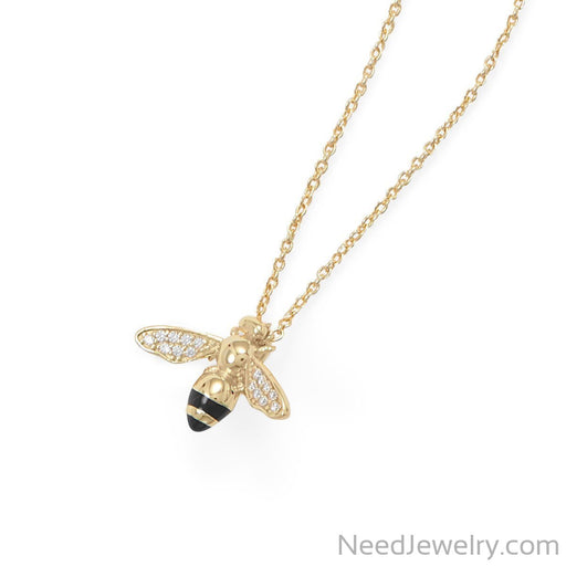 "Item # [sku} - 16""+2"" 14 Karat Gold Plated Signity CZ Bee Necklace on NeedJewelry.com"