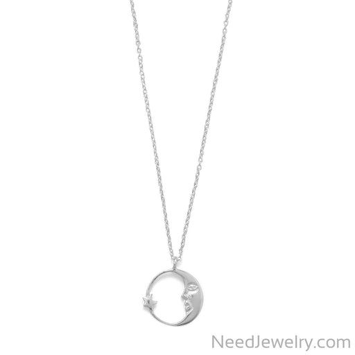 "Item # [sku} - 16.5"" Crescent Moon with Star Necklace on NeedJewelry.com"