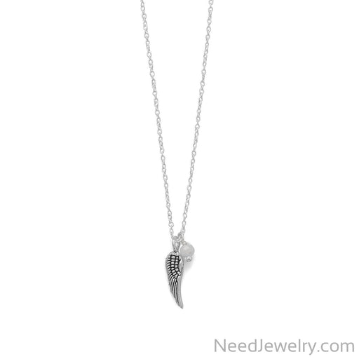 "Item # [sku} - 16.5"" Angel Wing and Crystal Necklace on NeedJewelry.com"