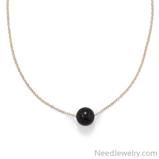"Item # [sku} - 16"" + 2"" Gold Filled Black Onyx Necklace on NeedJewelry.com"
