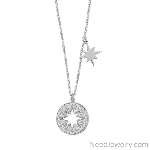 "Item # [sku} - 16"" Rhodium Plated CZ Cut Out Starburst Necklace on NeedJewelry.com"