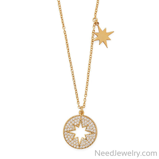 "Item # [sku} - 16"" 14 Karat Gold Plated CZ Cut Out Starburst Necklace on NeedJewelry.com"