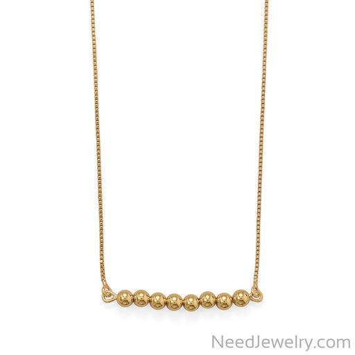 "Item # [sku} - 16""+2 14 Karat Gold Plated Beaded Bar Necklace on NeedJewelry.com"