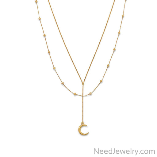 "Item # [sku} - 16""+2 14 Karat Gold Plated Double Strand Moon Necklace on NeedJewelry.com"
