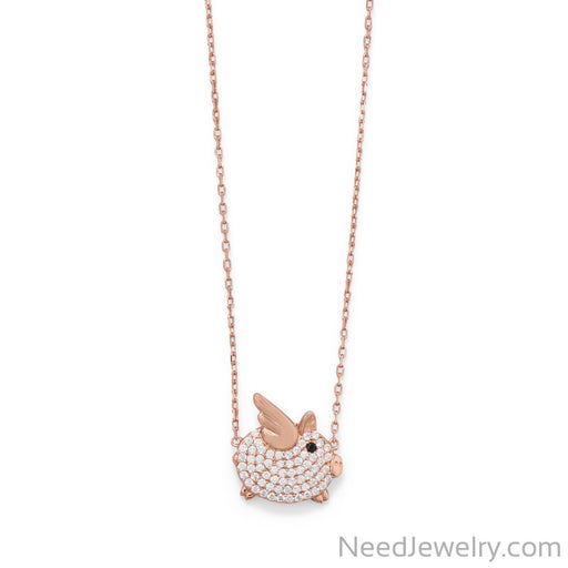 "Item # [sku} - 16""+2 CZ Flying Piggy Necklace on NeedJewelry.com"