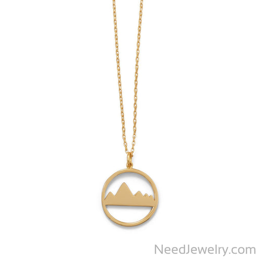 "Item # [sku} - 16"" + 2"" Gold Plated Mountain Range Necklace on NeedJewelry.com"