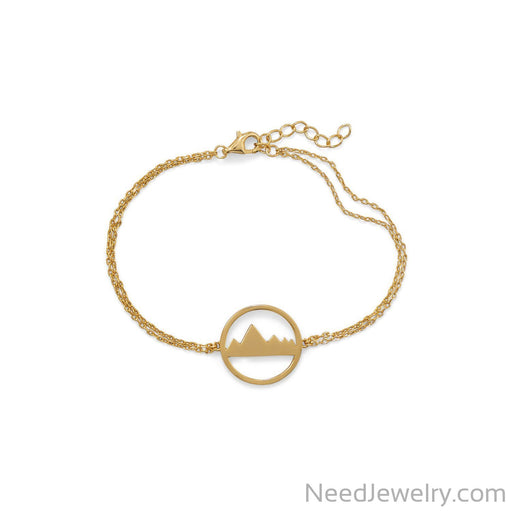 "Item # [sku} - 6.5""+1 Gold Plated Mountain Range Bracelet on NeedJewelry.com"