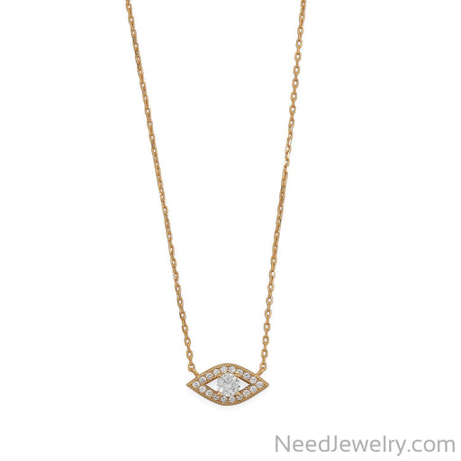 "Item # [sku} - 16""+2 14 Karat Gold Plated CZ Evil Eye Necklace on NeedJewelry.com"