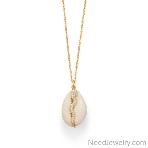 "Item # [sku} - 16""+2 14 Karat Gold Plated Shell and CZ Snake Necklace on NeedJewelry.com"