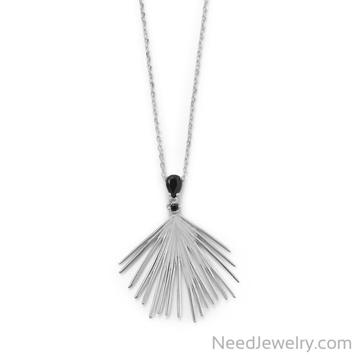 "Item # [sku} - 16""+2 Black CZ Wire Fan Necklace on NeedJewelry.com"