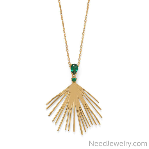 "Item # [sku} - 16""+2 Green CZ Wire Fan Necklace on NeedJewelry.com"