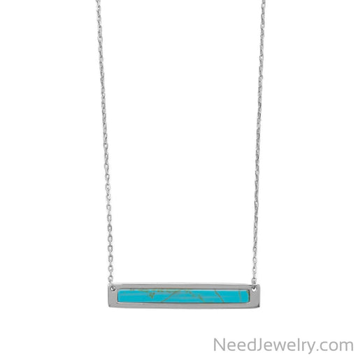 "Item # [sku} - 16""+2 Rhodium Plated Turquoise Bar Necklace on NeedJewelry.com"