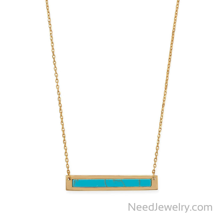 "Item # [sku} - 16""+2 14 Karat Gold Plated Turquoise Bar Necklace on NeedJewelry.com"