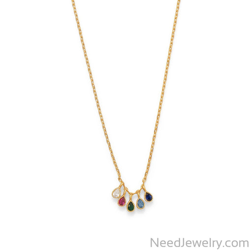 "Item # [sku} - 16""+2 14 Karat Gold Plated Multi Color CZ Necklace on NeedJewelry.com"