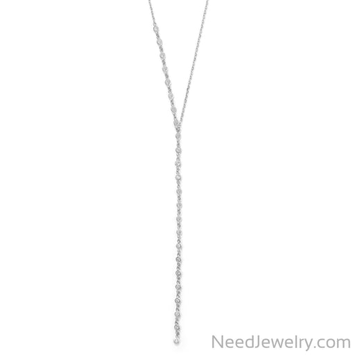 "Item # [sku} - 16""+2 Rhodium Plated Bezel CZ Lariat Necklace on NeedJewelry.com"
