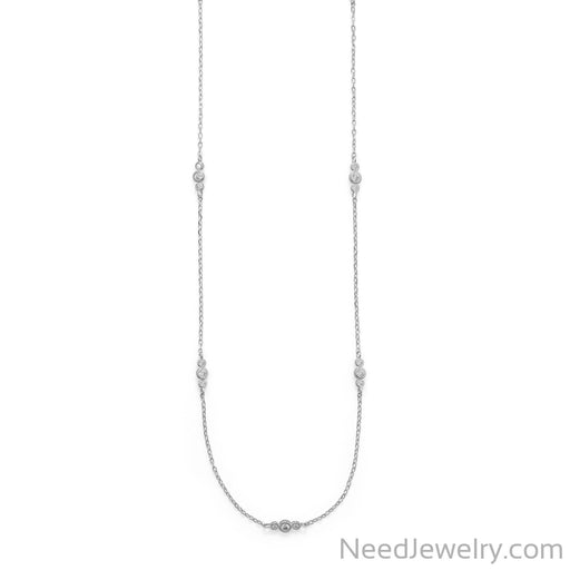 "Item # [sku} - 30"" Rhodium Plated 13 Station CZ Necklace on NeedJewelry.com"