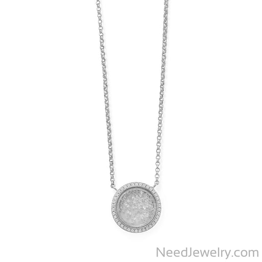 "Item # [sku} - 16""+1+1 Rhodium Plated Dancing CZs NK on NeedJewelry.com"