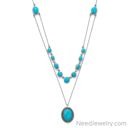 "Item # [sku} - 18""/20""+2 2 Row Turquoise Necklace on NeedJewelry.com"