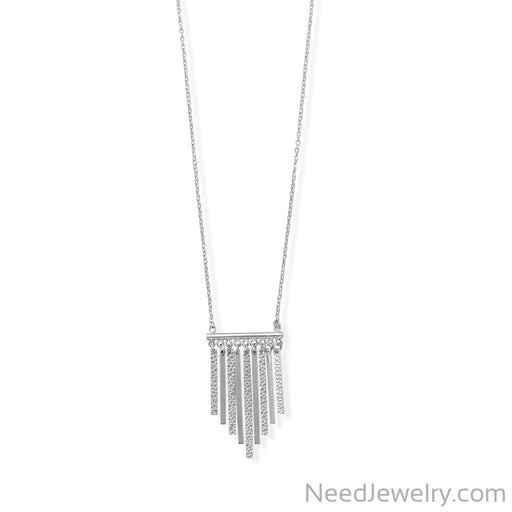 "Item # [sku} - 16""+2 Rhodium Plated Polished and Textured Bar Necklace on NeedJewelry.com"