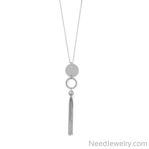 "Item # [sku} - 32""+2 Disk and Circle Long Tassel Necklace on NeedJewelry.com"