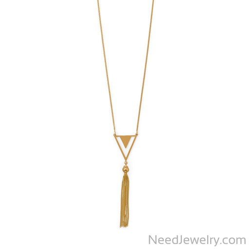 "Item # [sku} - 32""+2 14 Karat Gold Plated Triangle and Tassel Necklace on NeedJewelry.com"